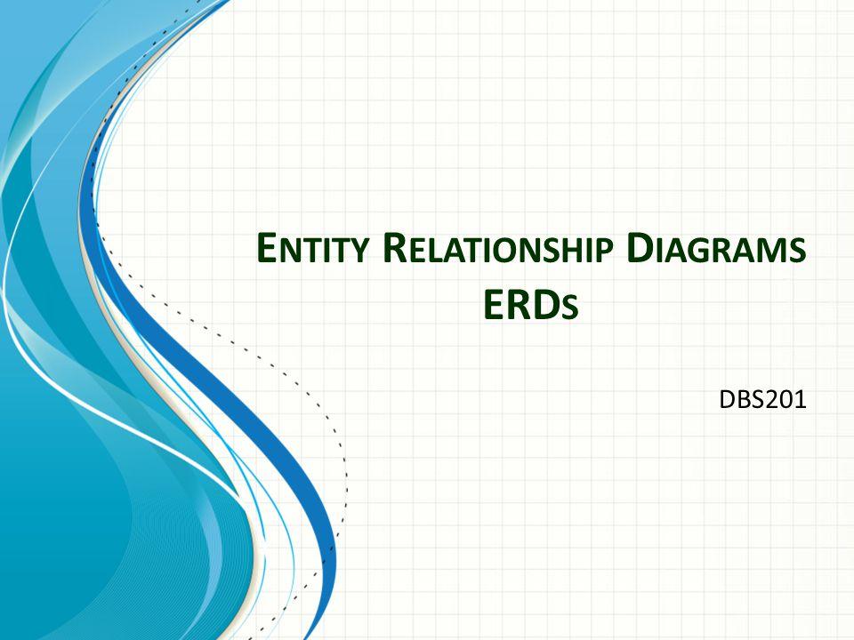 E NTITY R ELATIONSHIP D IAGRAMS ERD S DBS201