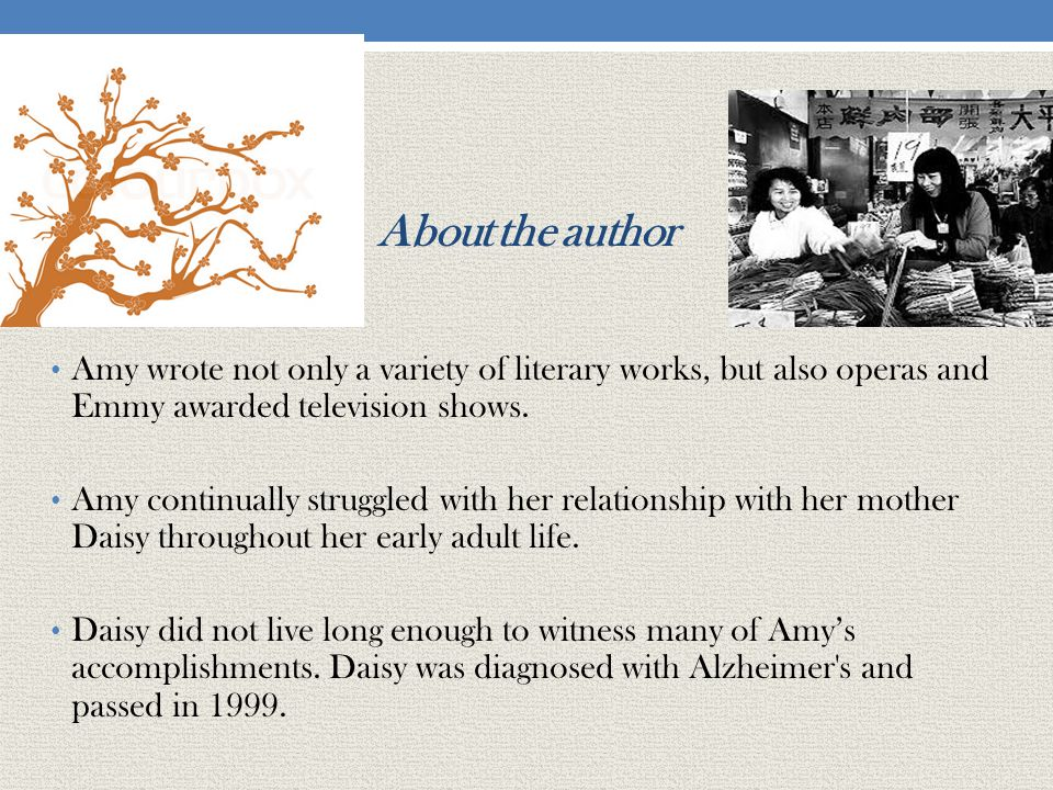 About the author Amy wrote not only a variety of literary works, but also operas and Emmy awarded television shows.