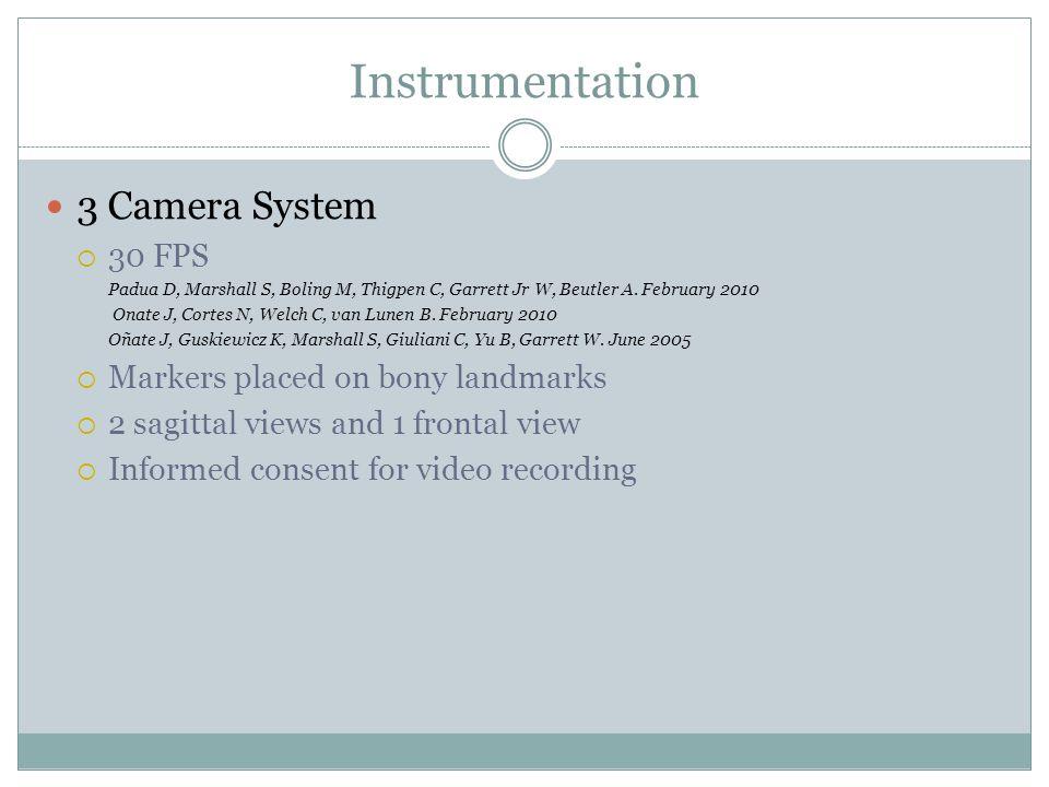 Instrumentation 3 Camera System  30 FPS Padua D, Marshall S, Boling M, Thigpen C, Garrett Jr W, Beutler A.