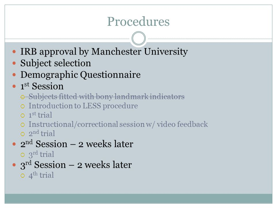 Procedures IRB approval by Manchester University Subject selection Demographic Questionnaire 1 st Session  Subjects fitted with bony landmark indicators  Introduction to LESS procedure  1 st trial  Instructional/correctional session w/ video feedback  2 nd trial 2 nd Session – 2 weeks later  3 rd trial 3 rd Session – 2 weeks later  4 th trial