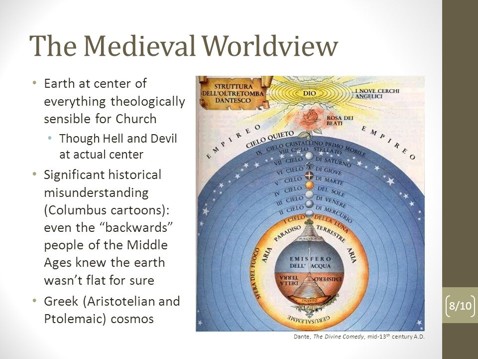 The Medieval Worldview 8/10 Dante, The Divine Comedy, mid-13 th century A.D.