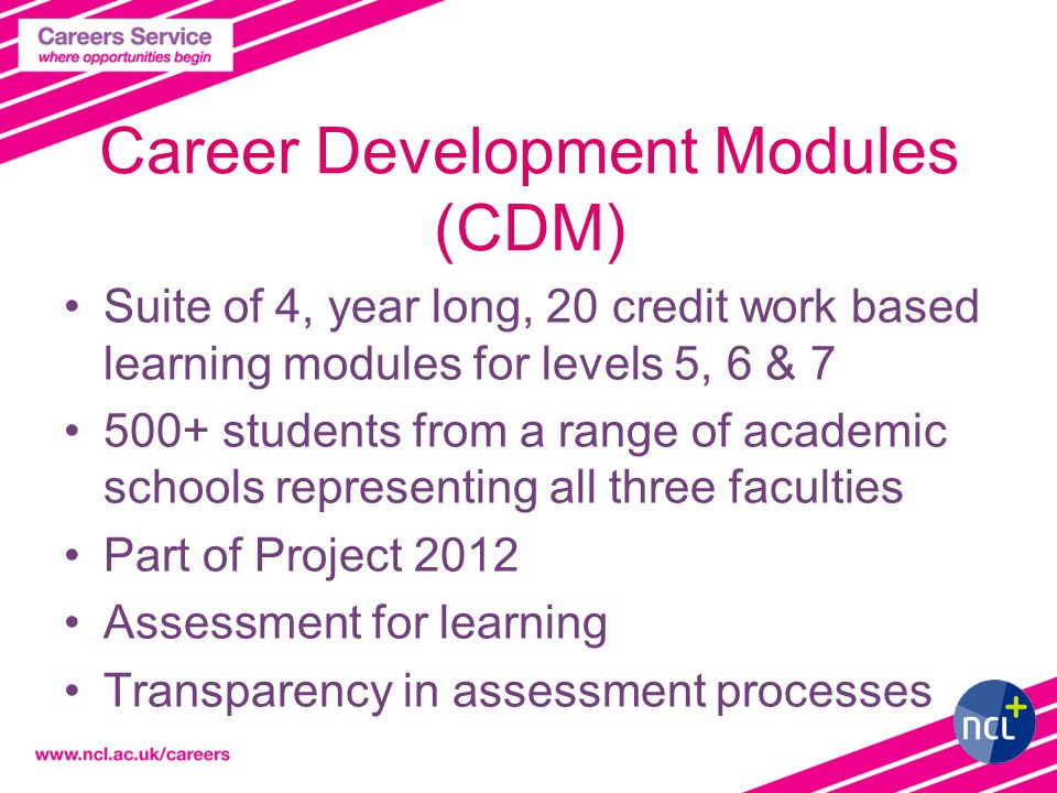 Career Development Modules (CDM) Suite of 4, year long, 20 credit work based learning modules for levels 5, 6 & 7 500+ students from a range of academic schools representing all three faculties Part of Project 2012 Assessment for learning Transparency in assessment processes