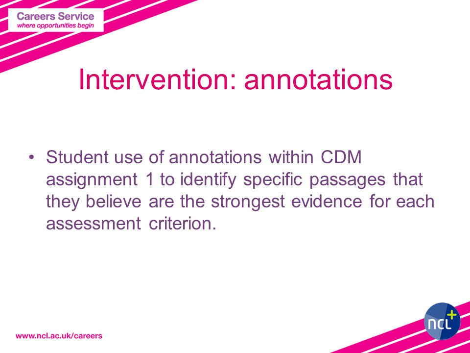 Intervention: annotations Student use of annotations within CDM assignment 1 to identify specific passages that they believe are the strongest evidence for each assessment criterion.