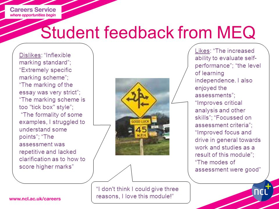 Student feedback from MEQ Likes: The increased ability to evaluate self- performance ; the level of learning independence.