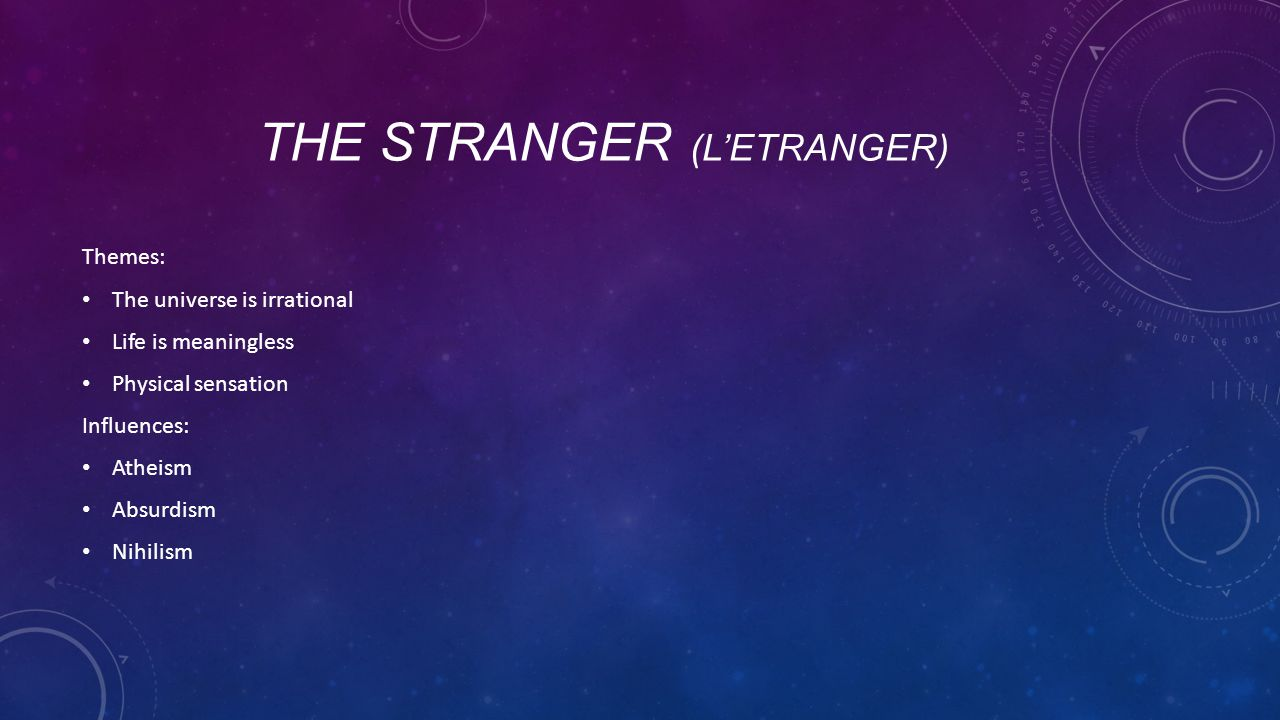TEACHING THE STRANGER (L'ESTRANGER) Why is this a good idea for teenagers.