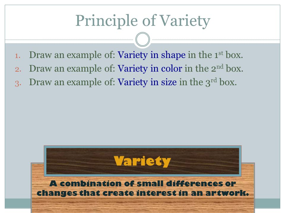 A combination of small differences or changes that create interest in an artwork.
