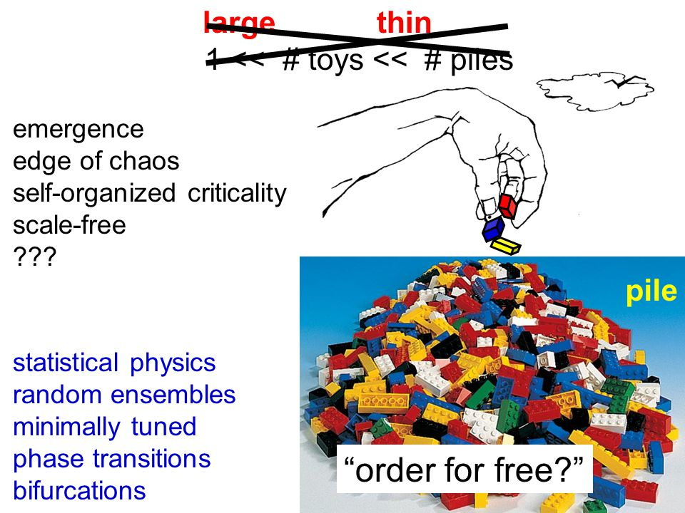 large thin 1 << # toys << # piles pile order for free? emergence edge of chaos self-organized criticality scale-free ??.