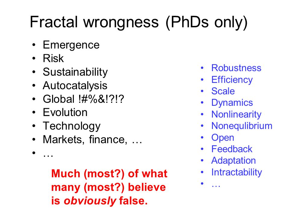 Fractal wrongness (PhDs only) Much (most?) of what many (most?) believe is obviously false.