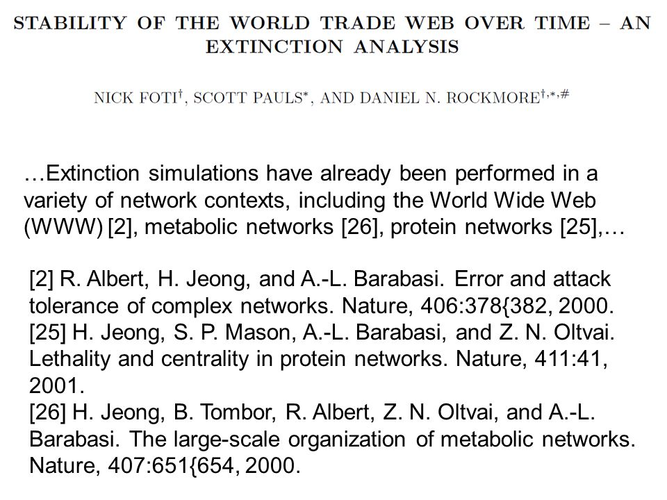 …Extinction simulations have already been performed in a variety of network contexts, including the World Wide Web (WWW) [2], metabolic networks [26], protein networks [25],… [2] R.