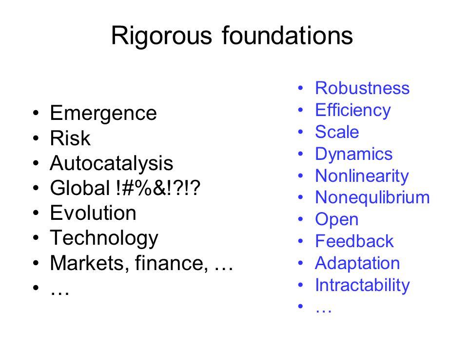 Rigorous foundations Emergence Risk Autocatalysis Global !#%&! !.