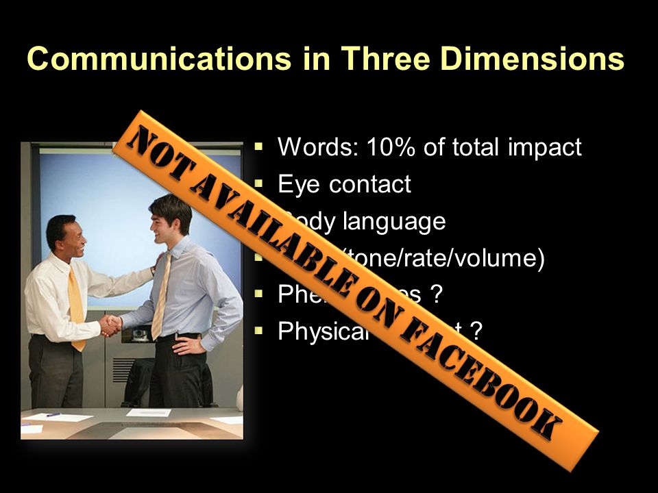  Words: 10% of total impact  Eye contact  Body language  Voice(tone/rate/volume)  Pheromones ?  Physical contact ? Communications in Three Dimen