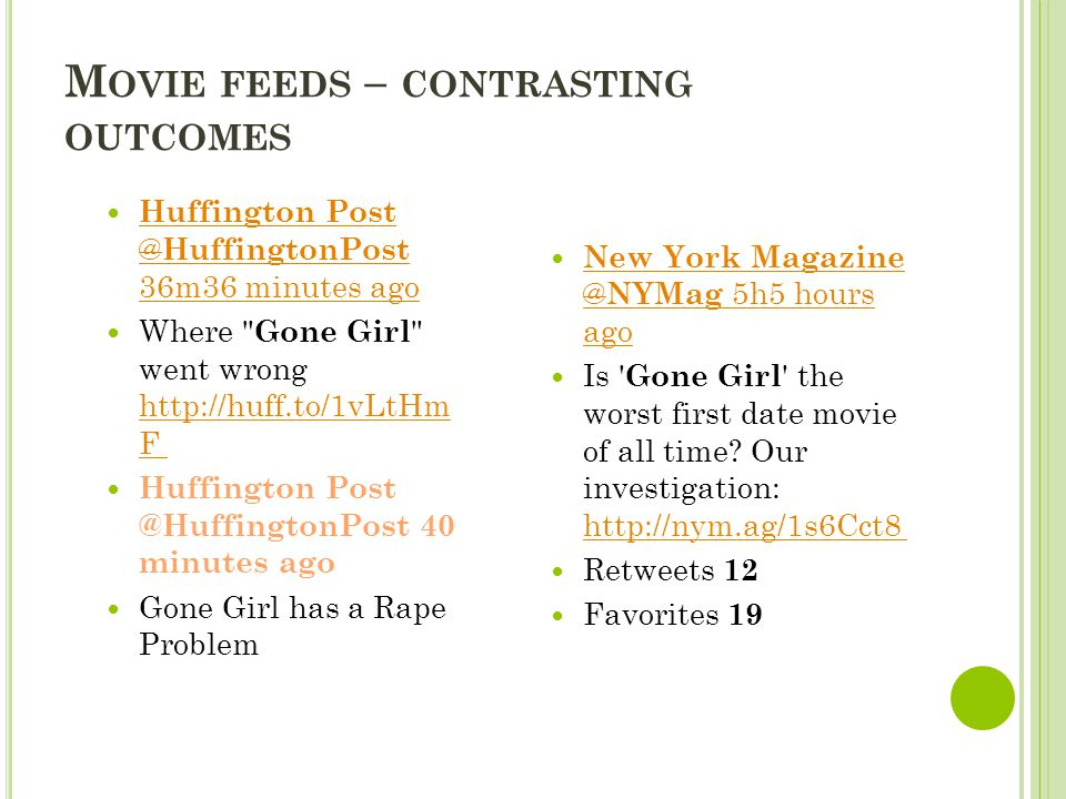 M OVIE FEEDS – CONTRASTING OUTCOMES Huffington Post ‏ @ HuffingtonPost 36m36 minutes ago Huffington Post ‏ @ HuffingtonPost 36m36 minutes ago Where