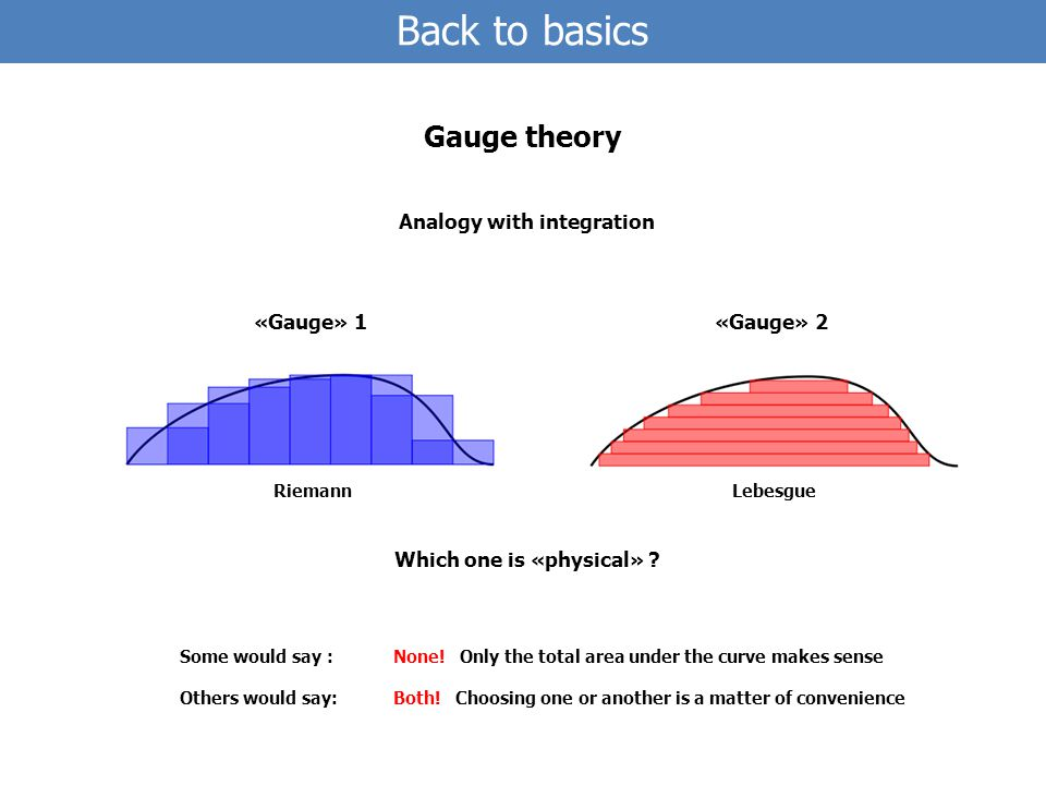 Back to basics Gauge theory Analogy with integration «Gauge» 1«Gauge» 2 RiemannLebesgue Which one is «physical» .
