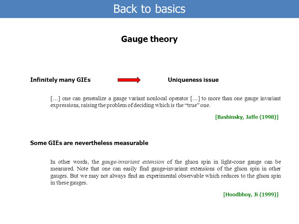 Infinitely many GIEs Back to basics Gauge theory […] one can generalize a gauge variant nonlocal operator […] to more than one gauge invariant expressions, raising the problem of deciding which is the true one.