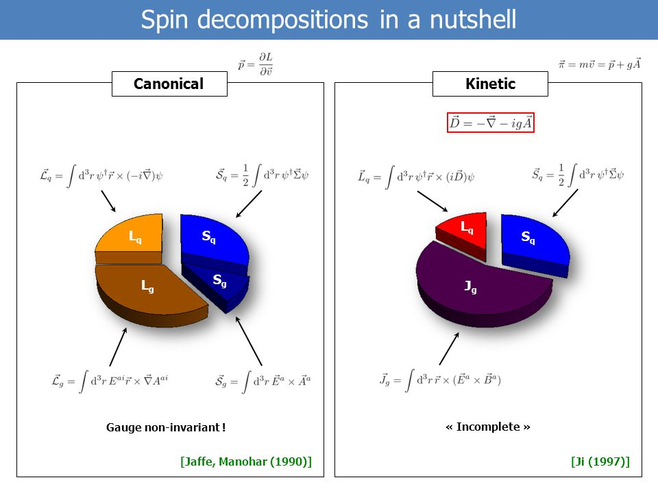 Spin decompositions in a nutshell [Jaffe, Manohar (1990)][Ji (1997)] SqSq SgSg LgLg LqLq SqSq LqLq JgJg CanonicalKinetic Gauge non-invariant .