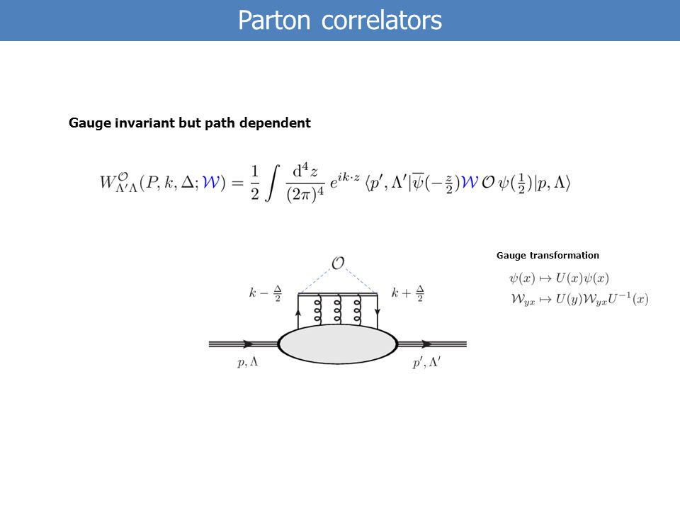 Parton correlators Gauge transformation Gauge invariant but path dependent