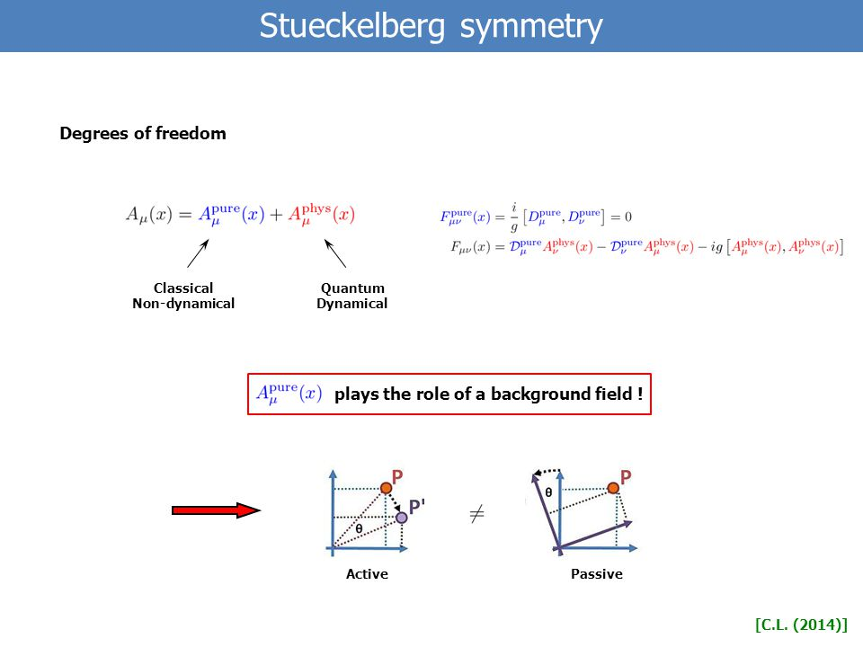 Stueckelberg symmetry Degrees of freedom [C.L.