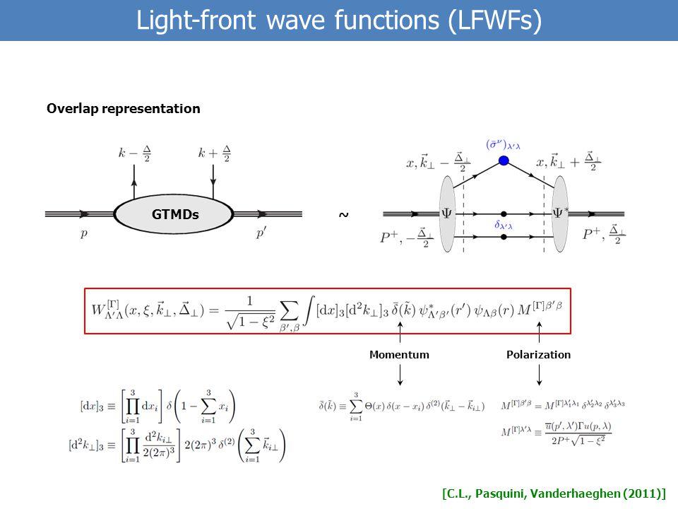 [C.L., Pasquini, Vanderhaeghen (2011)] ~ Overlap representation Light-front wave functions (LFWFs) GTMDs MomentumPolarization