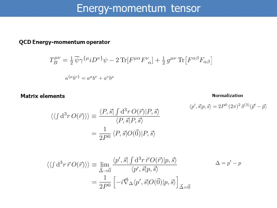QCD Energy-momentum operator Matrix elements Normalization Energy-momentum tensor