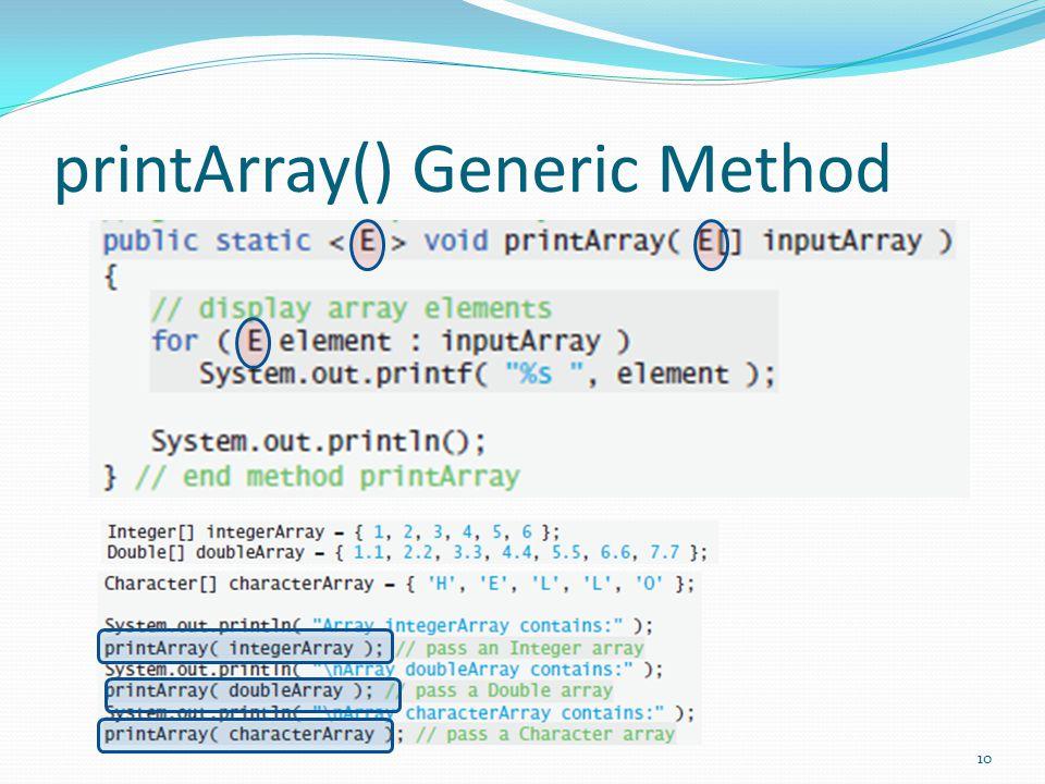 printArray() Generic Method 10