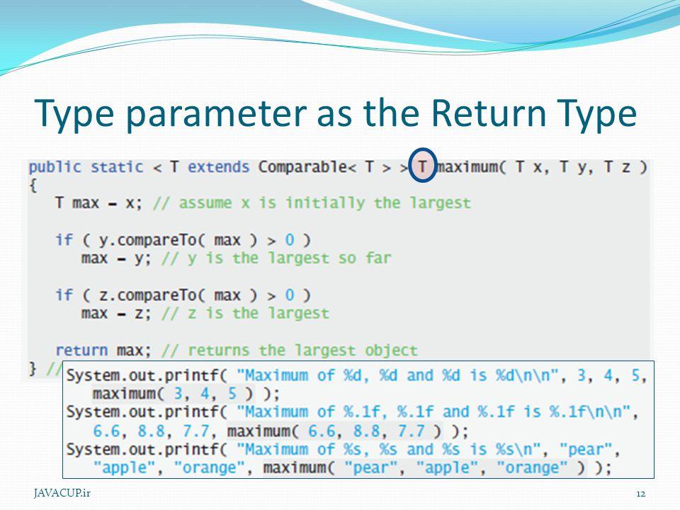 Type parameter as the Return Type JAVACUP.ir12