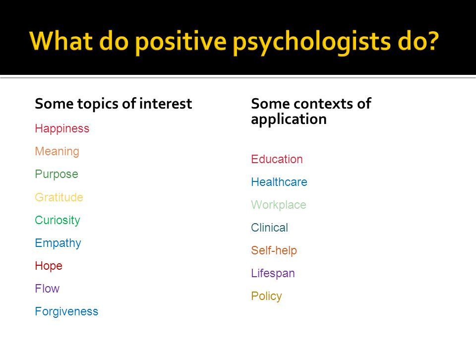 Some topics of interest Happiness Meaning Purpose Gratitude Curiosity Empathy Hope Flow Forgiveness Some contexts of application Education Healthcare Workplace Clinical Self-help Lifespan Policy