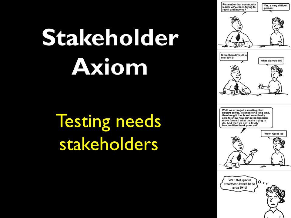 Testing needs stakeholders