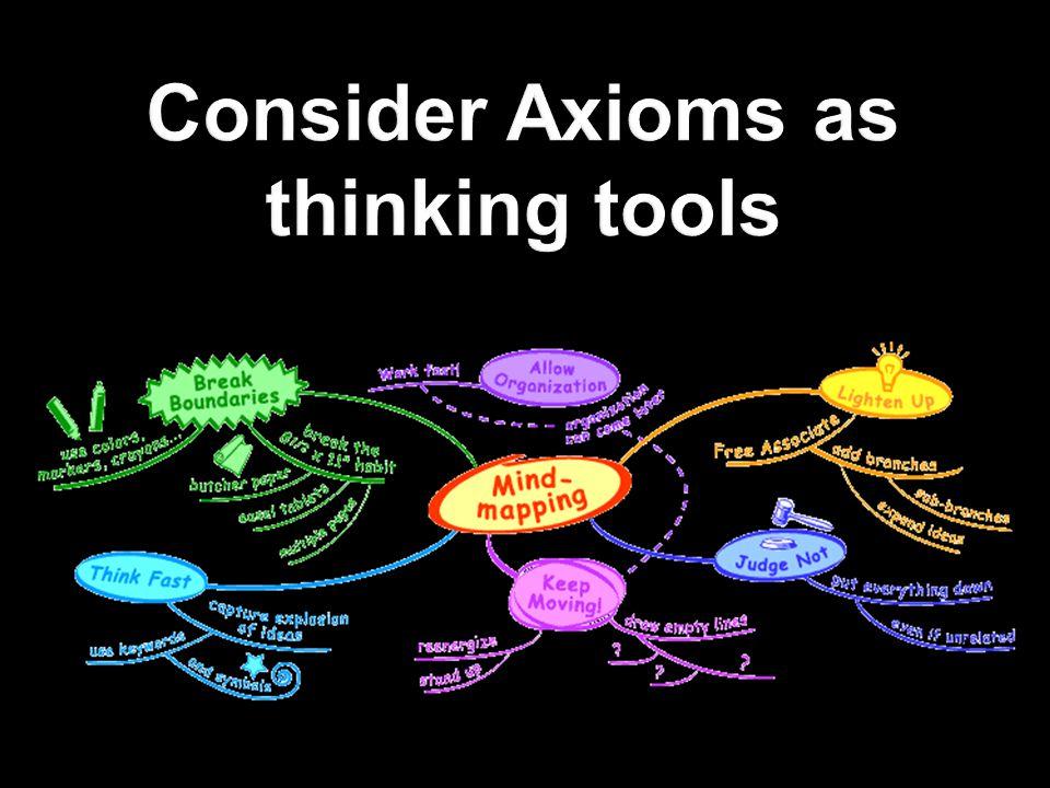 Consider Axioms as thinking tools