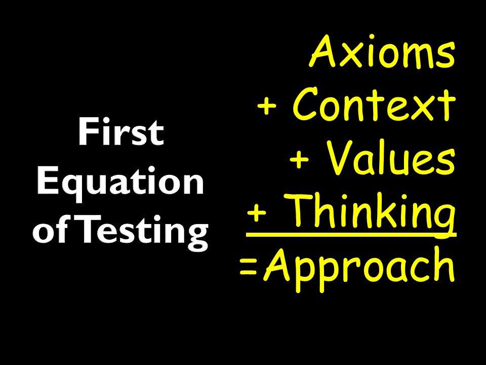 Axioms + Context + Values + Thinking =Approach