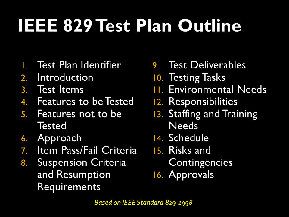 1. Test Plan Identifier 2. Introduction 3. Test Items 4.