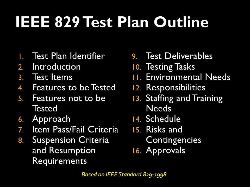 1. Test Plan Identifier 2. Introduction 3. Test Items 4.