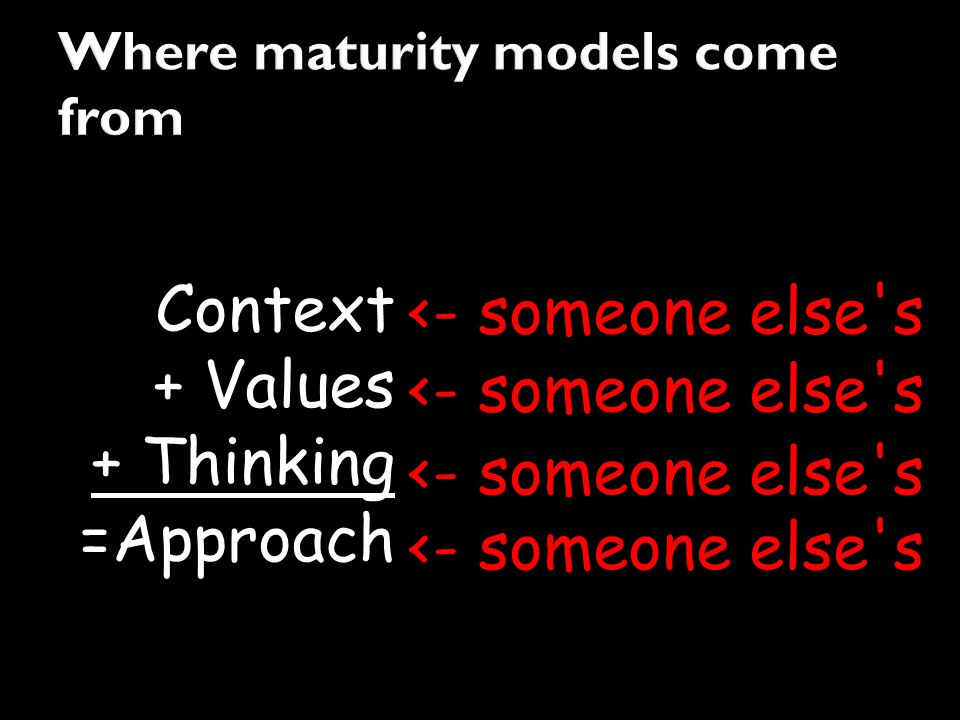 Context + Values + Thinking =Approach <- someone else's
