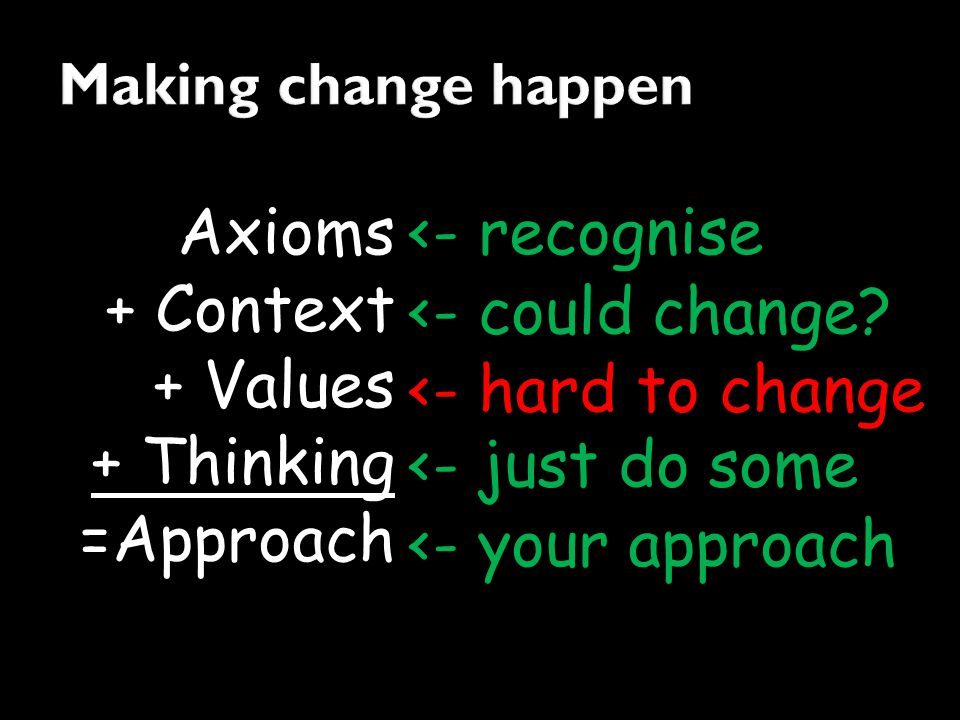 Axioms + Context + Values + Thinking =Approach <- recognise <- hard to change <- could change? <- just do some <- your approach
