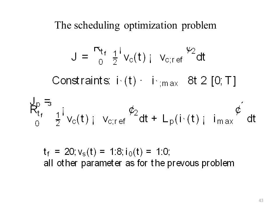The scheduling optimization problem 43
