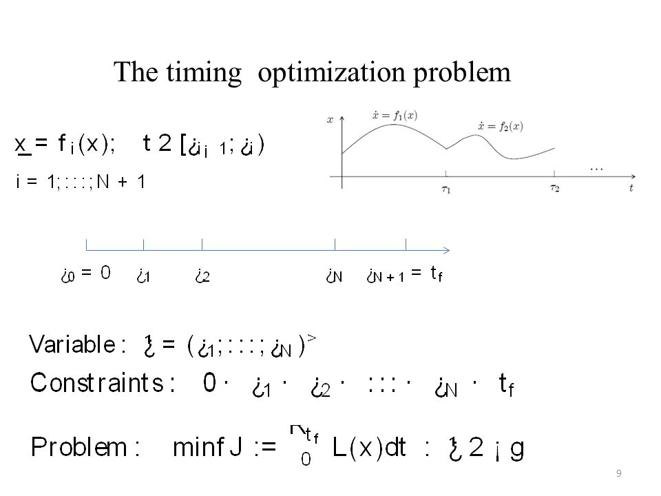 The timing optimization problem 9