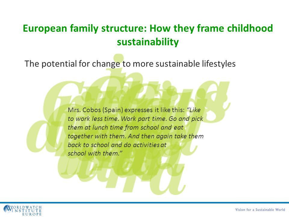 European family structure: How they frame childhood sustainability The potential for change to more sustainable lifestyles Mrs. Cobos (Spain) expresse