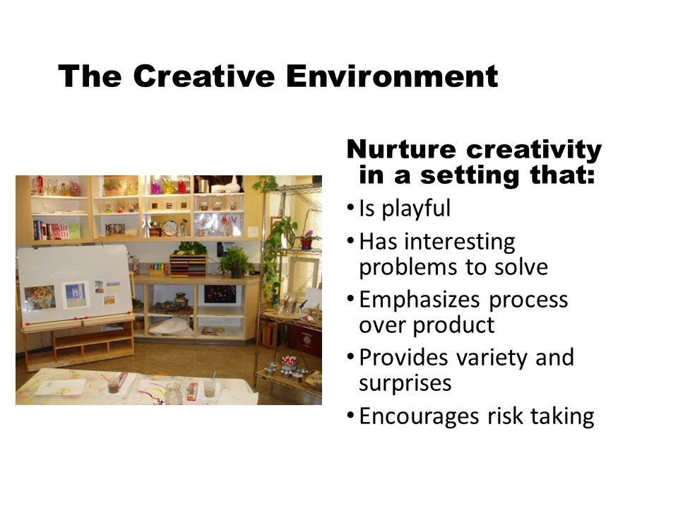 The Creative Environment Nurture creativity in a setting that: Is playful Has interesting problems to solve Emphasizes process over product Provides variety and surprises Encourages risk taking