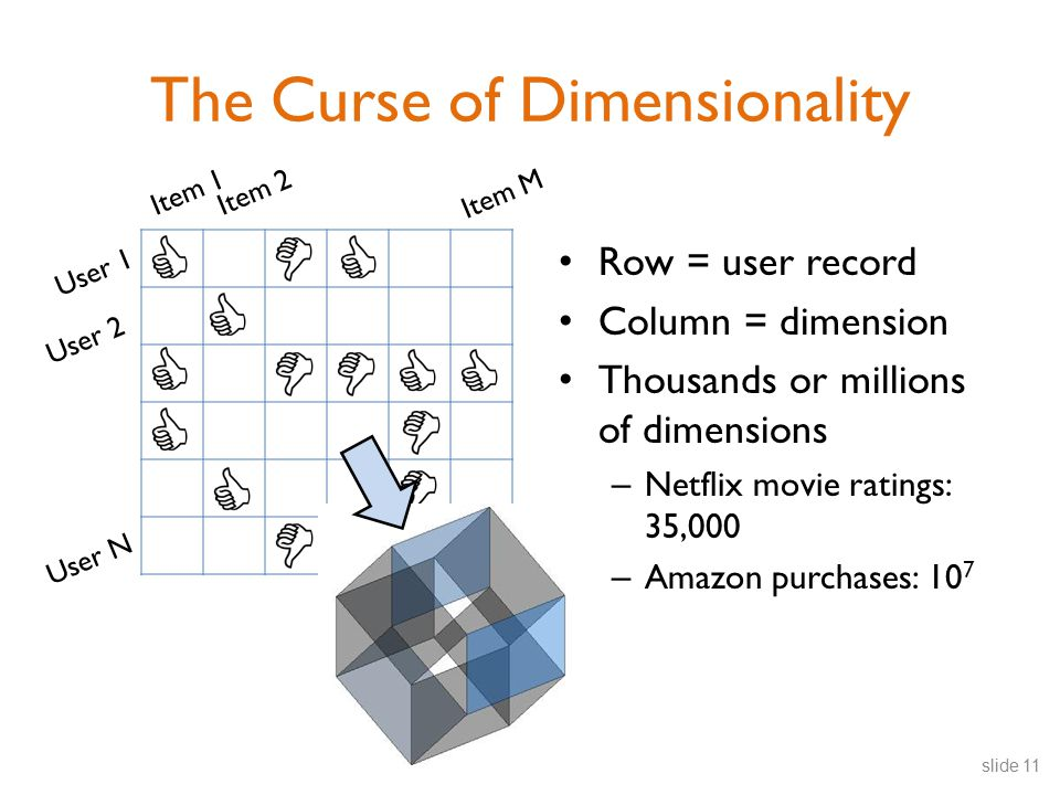 User 1 User 2 User N Item 1Item 2 Item M The Curse of Dimensionality slide 11 Row = user record Column = dimension Thousands or millions of dimensions – Netflix movie ratings: 35,000 – Amazon purchases: 10 7