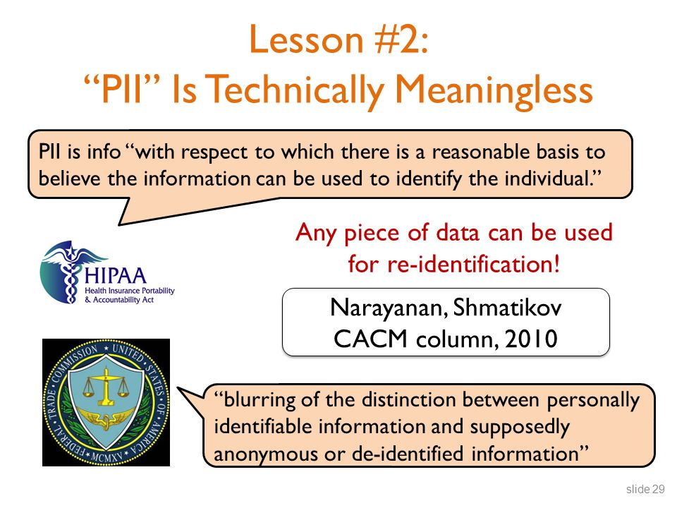 PII is info with respect to which there is a reasonable basis to believe the information can be used to identify the individual. Lesson #2: PII Is Technically Meaningless Any piece of data can be used for re-identification.