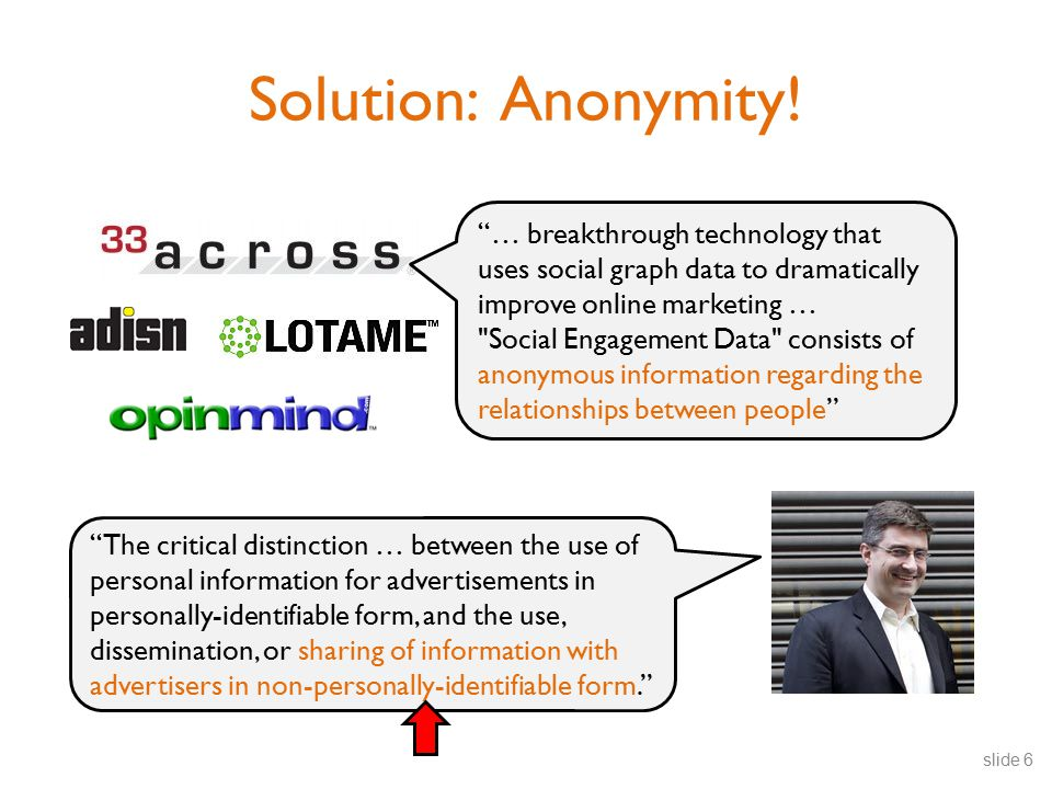 """Solution: Anonymity! """"… breakthrough technology that uses social graph data to dramatically improve online marketing …"""