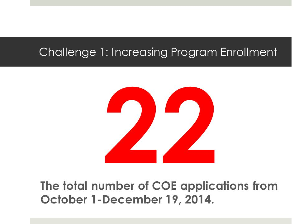 Challenge 1: Increasing Program Enrollment The total number of COE applications from October 1-December 19, 2014.