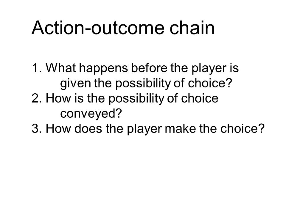 Action-outcome chain 1. What happens before the player is given the possibility of choice.