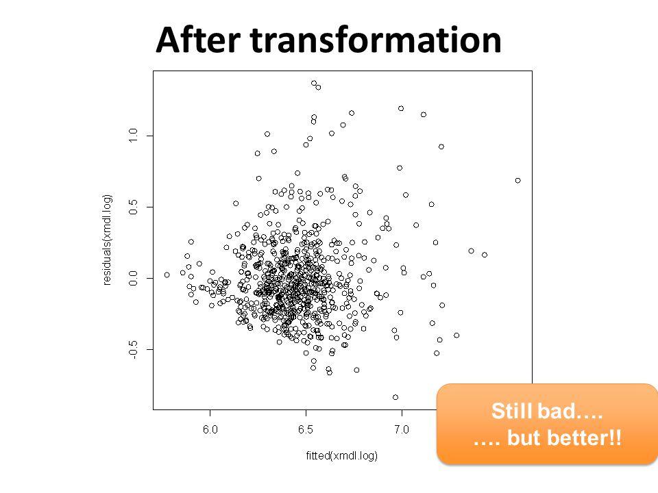 After transformation Still bad…. …. but better!! Still bad…. …. but better!!