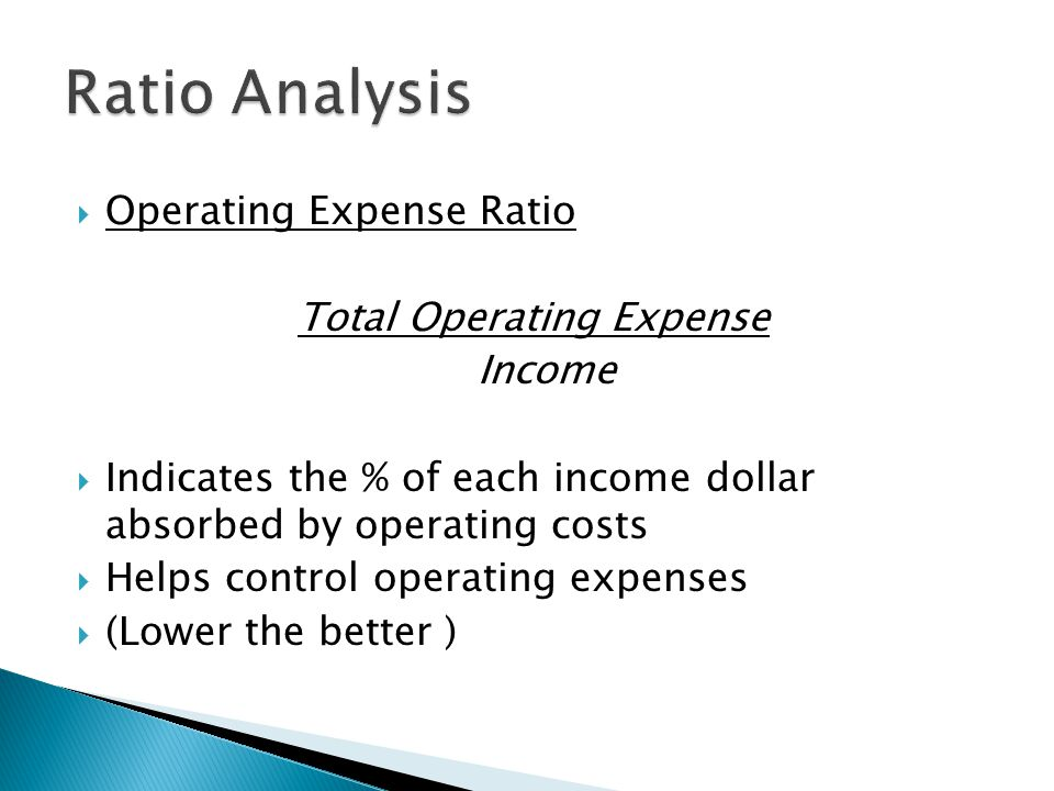  Operating Expense Ratio Total Operating Expense Income  Indicates the % of each income dollar absorbed by operating costs  Helps control operating expenses  (Lower the better )