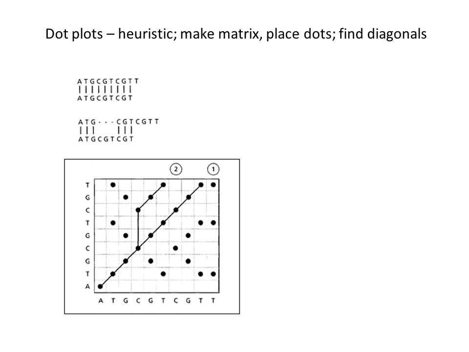 Dot plots – heuristic; make matrix, place dots; find diagonals