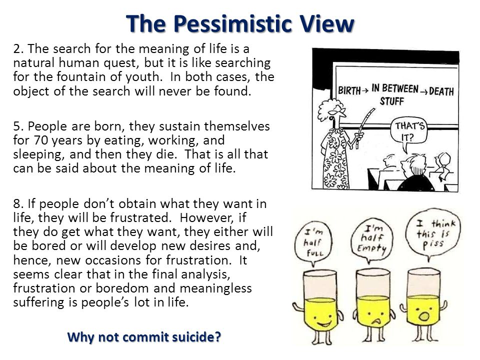 The Pessimistic View 2. The search for the meaning of life is a natural human quest, but it is like searching for the fountain of youth. In both cases