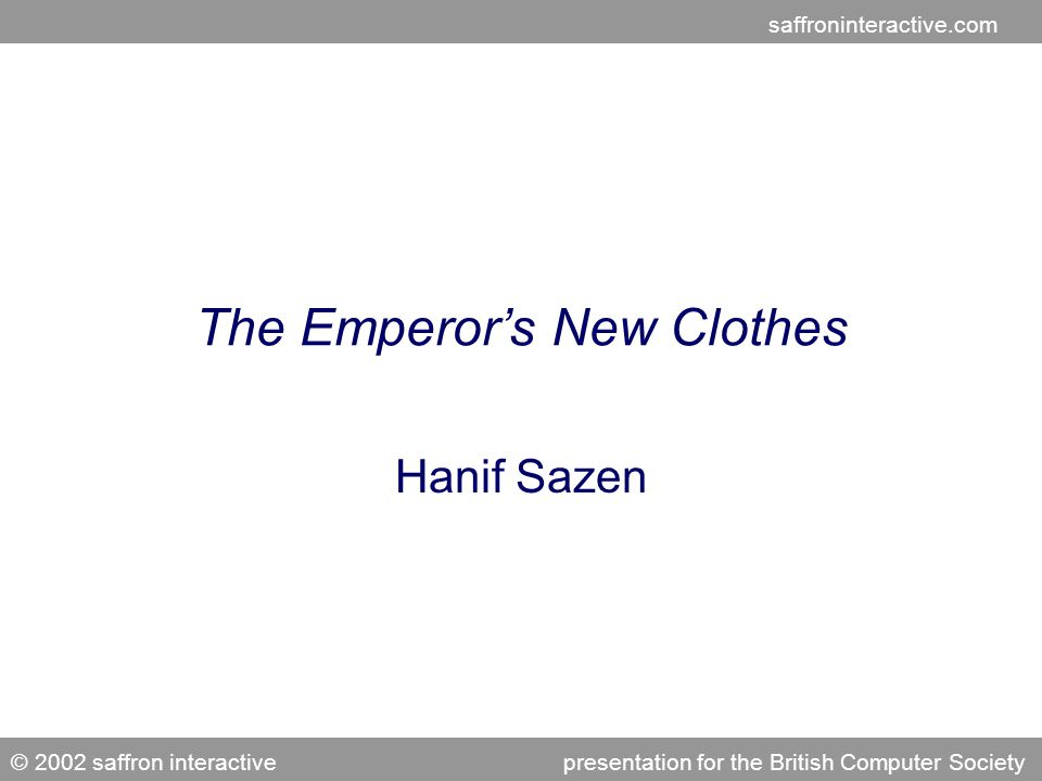 saffroninteractive.com © 2002 saffron interactivepresentation for the e-Learning Network Agenda The Traditional Model Training's New Clothes Learning that Works