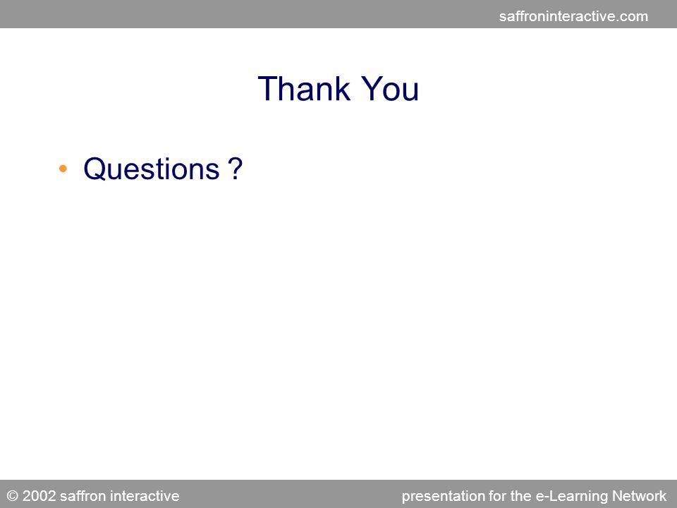 saffroninteractive.com © 2002 saffron interactivepresentation for the e-Learning Network Thank You Questions