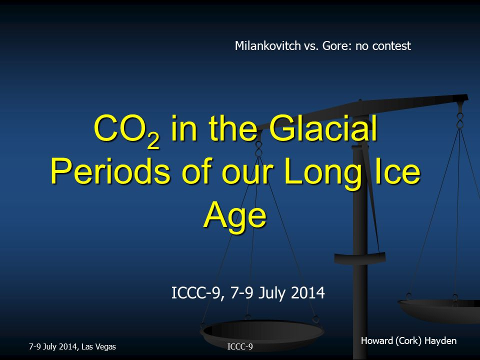Howard (Cork) Hayden CO 2 in the Glacial Periods of our Long Ice Age ICCC-9, 7-9 July 2014 7-9 July 2014, Las VegasICCC-9 Milankovitch vs.