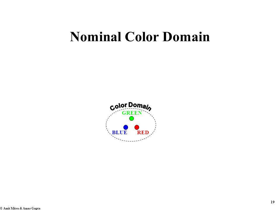 19 © Amit Mitra & Amar Gupta Nominal Color Domain BLUERED GREEN